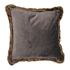 Gray Velvet Pillow with Brown Fur Trim