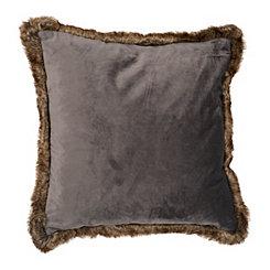 Gray Velvet Pillow with Brown Fur Trim