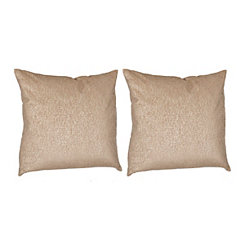 Tan Metallic Velvet Pillows, Set of 2