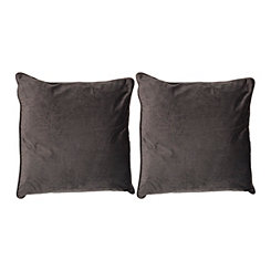 Gray Velvet Pillow, Set of 2