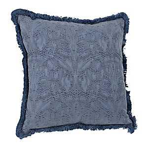 Indigo Fringe Trim Jacquard Pillow