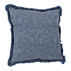 Indigo Fringe Trim Jacquard Pillow