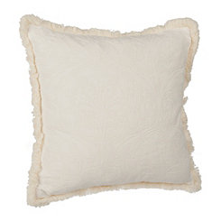 Ivory Fringe Trim Jacquard Pillow