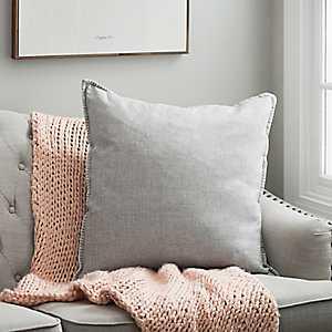 Gray Whipstitch Velvet Reverse Pillow