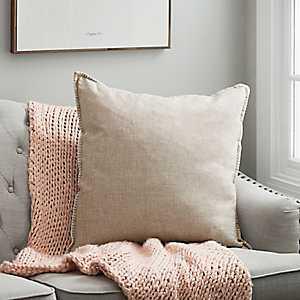 Beige Whipstitch Velvet Reverse Pillow