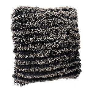 Black Parisian Fringe Fur Pillow