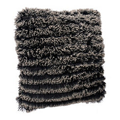 Black Parisian Fringe Fur Pillow