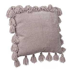 Gray Chenille Tassel Pillow