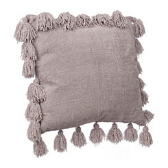 Gray Chenille Tassel Pillow