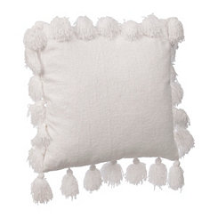 White Chenille Tassel Pillow