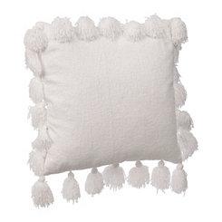 White Chenille Tassel Pillow