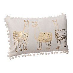 Gold Llama Pom-Pom Pillow