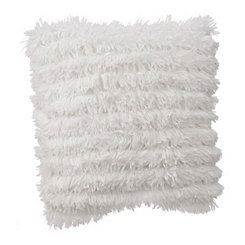 White Effie Fringe Fur Pillow