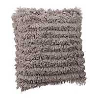 Gray Effie Fringe Fur Pillow