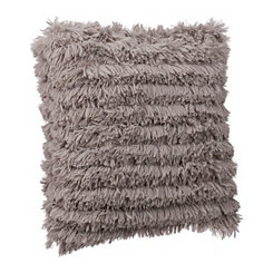 Gray Effie Fringe Fur Pillow