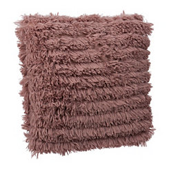 Rose Effie Fringe Fur Pillow