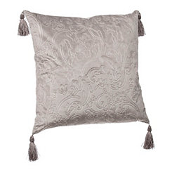 Gray Jacquard Velvet Tassel Pillow