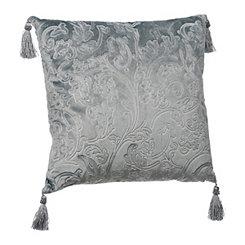 Turquoise Jacquard Velvet Tassel Pillow