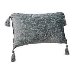 Turquoise Jacquard Velvet Accent Pillow
