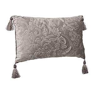 Embossed Gray Velvet Accent Pillow