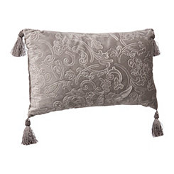 Embossed Gray Velvet Accent Pillow