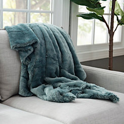 Serengeti Blue Faux Fur Throw Blanket
