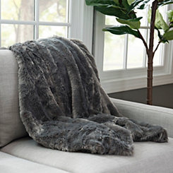 Serengeti Gray Faux Fur Throw Blanket