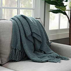 Blue-Gray Christine Mohair Throw Blanket