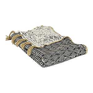 Kendal Knit Black and Tan Throw Blanket