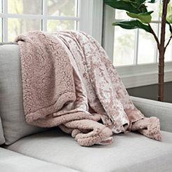 Babs Crushed Velvet Rose Throw Blanket
