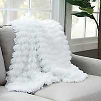White Effie Fringe Fur Throw