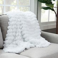 White Effie Fringe Fur Throw