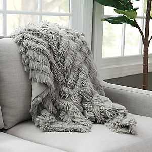 Gray Effie Fringe Fur Throw