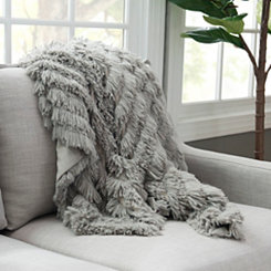 Gray Effie Fringe Fur Throw