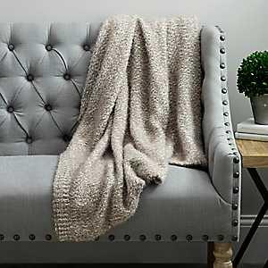 Barbara Knit Tan Jean Throw Blanket