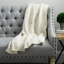 Barbara Jean Knit Cream Throw Blanket
