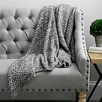 Barbara Knit Charcoal Jean Throw Blanket