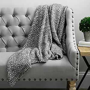 Barbara Knit Charcoal Jean Throw Blanket