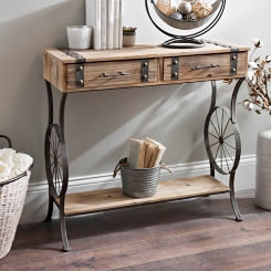 Rustic Bicycle Wheel Console Table
