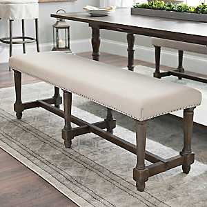 Charlotte Oatmeal Linen Bench with Nail Trim