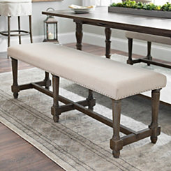 Oatmeal Linen Bench with Nail Trim
