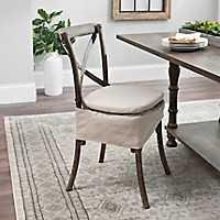 Charlotte X-Back Oatmeal Linen Skirted Chair