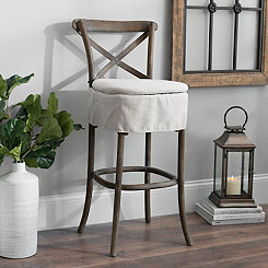 X-Back Oatmeal Linen Skirted Bar Stool