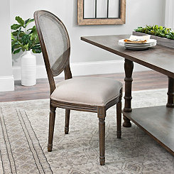 Oatmeal Linen Mesh Back Dining Chair