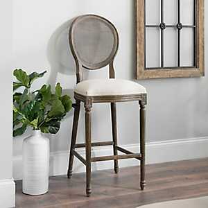 Charlotte Oatmeal Linen Mesh Back Bar Stool