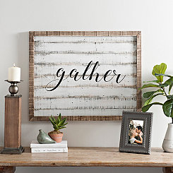 Gather Rustic Framed Wood Plank Wall Plaque