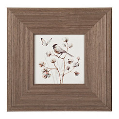 Bird on Cotton Branch Framed Art Print
