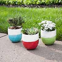 Two-Tone Textured Ceramic Planters