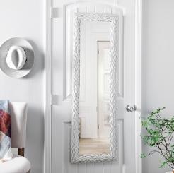 White Chiseled Bark Over the Door Mirror