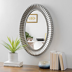 Ribbed Silver Oval Wall Mirror